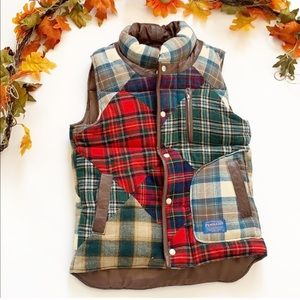 Vintage Wool Flannel Print Puffer Vest Size S